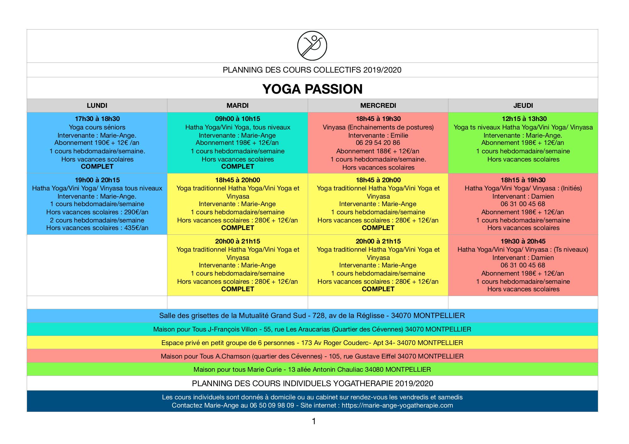 Planning des cours de yoga à Montpellier
